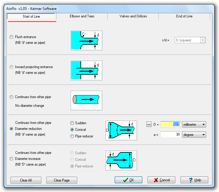 Resistance coefficients (K values) for pipe fittings like bends
