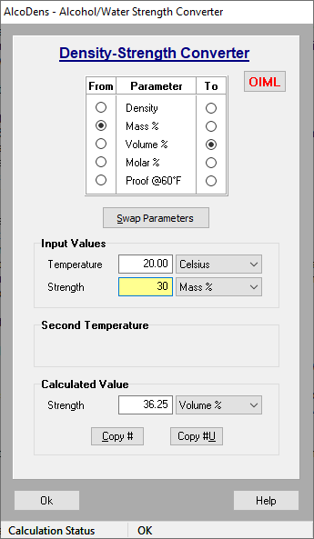 Ethanol density to ethanol proof or strength conversion calculator