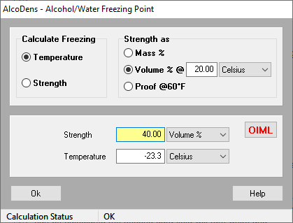 Ethanol-water freezing point calculator | AlcoDens
