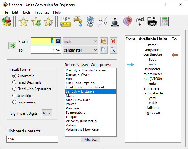 Uconeer Unit Converter For Engineers Main Screen